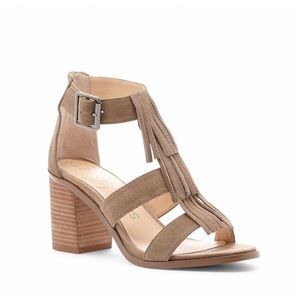 Sole Society Shoes - Sole Society Delilah Fringe Suede Taupe Sandal