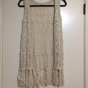 Sweaters - Fringe sweater vest