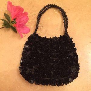 La Regale Handbags - La Regale Small Black Beaded Sequin Party Purse