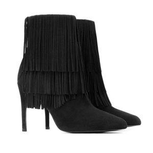 Zara Fringe Black Suede booties