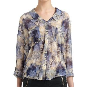Free People Tops - Free People Easy Rider Chiffon Abstract Blouse