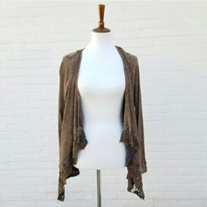 One World Brown Waterfall Cardigan
