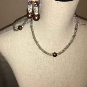 Faux brown pearl handmade jewelry set