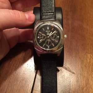 Menu0027s Relic Wet Black Leather Band Watch Looks New