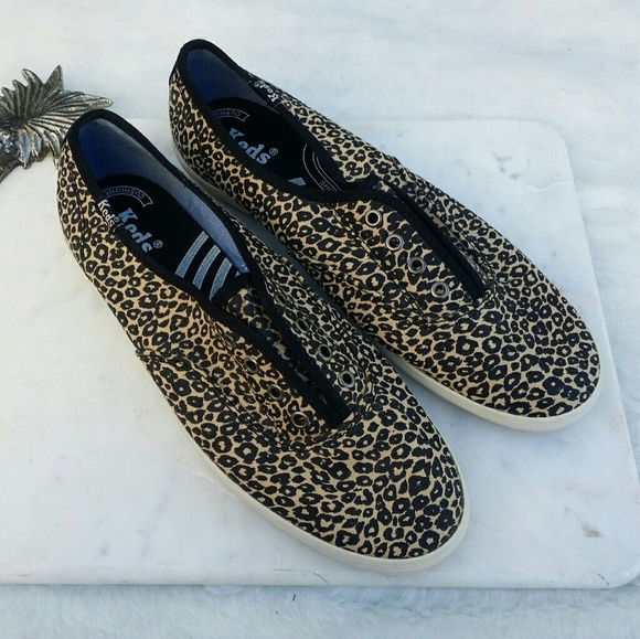 Keds Women/'s Champion Animal Print Loafers Brown Size  6.5 M
