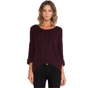 360 Cashmere Tops - 360 Tao Cable Knit Dolman Sweater in Pinot