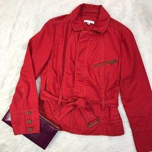 CAbi Jackets & Blazers - Cabi Red Cotton Moto Jacket
