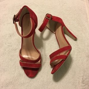 Sole Society Shoes - Sole Society Red Suede Open Toe Heels