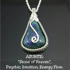 DGwiring Jewelry - Azurite Necklace Wire Wrapped Handmade