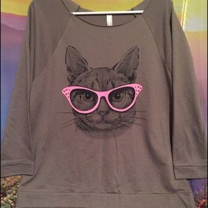 Next Level Tops - Cat eye Cat with pink glasses long sleeve tunic