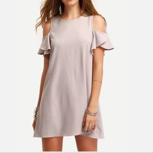 Haute Ellie Dresses & Skirts - Clay Cold Shoulder Ruffle Sleeve Dress