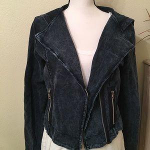 Copper Key Jackets & Blazers - Dark blue denim colored Moto jacket
