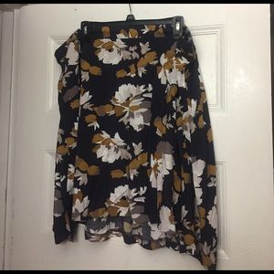 Old Navy 3X floral skirt - brown, gray, white