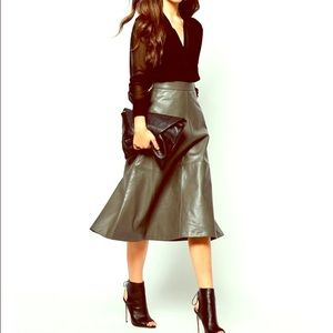 Contemporary A-line faux leather skirt