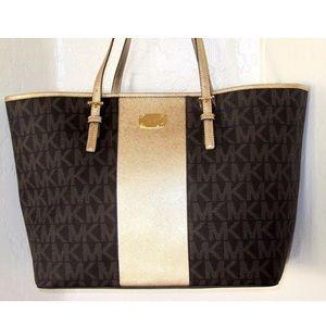 Michael Kors Handbags - Michael Kors jetset brown tote nwt
