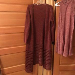 Soft surrounding burgundy long cardigan