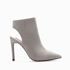 Zara Basic Collection Gray Suede Slingback Bootie