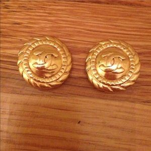 Authentic Gold Chanel clip earrings.
