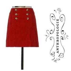 Anthropologie red corduroy a-line skirt 6