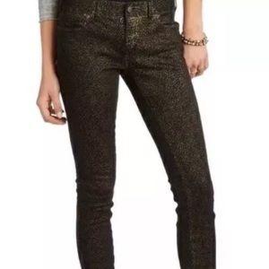 Free People Pants - Free People black & gold animal print skinny jeans