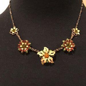 Vintage Enameled Crystal Flower Necklace
