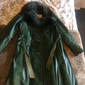 Vintage leather and fur coat