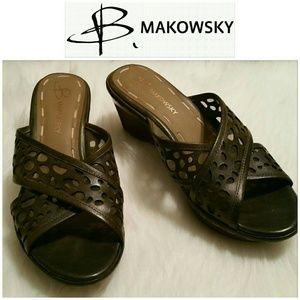 b. makowsky Shoes - SALE!!  B. Makowsky Olive Wedge Sandals