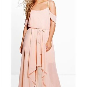 Boohoo Plus Dresses & Skirts - Boohoo+ Blush Chiffon Open Shoulder Dress