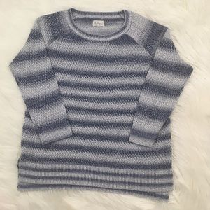 Lou & Grey Sweaters - Lou & Grey Blue and White Striped Crew Neck