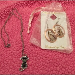 Vintage Cat Earrings and Necklace Bundle