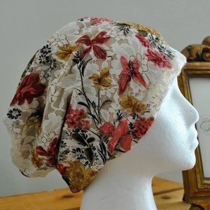 Accessories - NEW Lace Soft Floral Print Beanie
