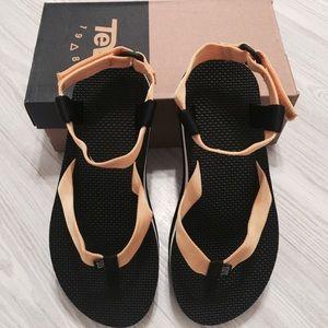 TEVA Gold Strapped Platform Sandals