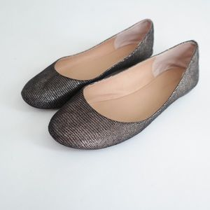 Metallic Black and Gold Ballet Flats