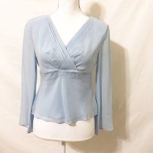 Petite Sophisticate Tops - Petite Sophisticate 100% Silk Long Blue Blouse