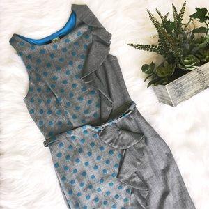 Eva Franco Dresses & Skirts - Eva Franco// polka dot ruffle belted work dress