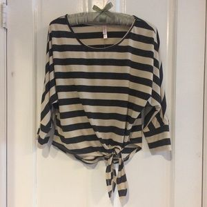 Xhilaration Tops - Black & White Wide Striped Top