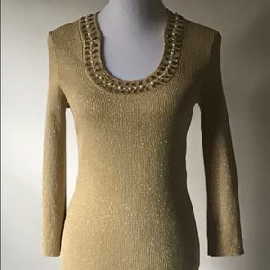 Curvy Couture Tops - Gold Metallic Jeweled Neckline Knit Top NWT