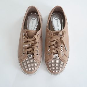 Michael Kors Tan Sneakers with Silver Studs