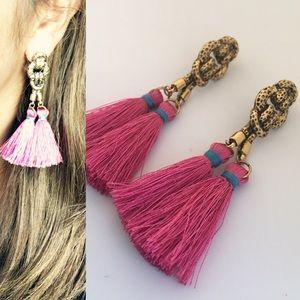 Jewelry - Pink And Blue Tassel Earrings
