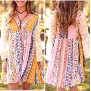 ❣️S-XXXL❣️ Lace Sleeve Peasant Style Dress