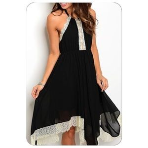 Black and Ivory Lace Accent Dress