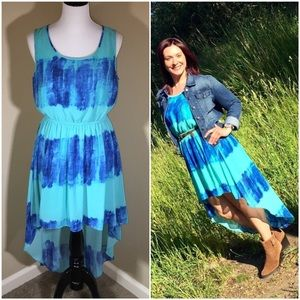 BOGO Summer Aqua Blue Tie-Dye Dress