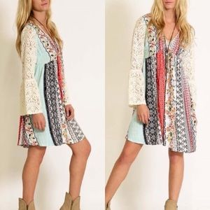 ❣️RESTOCK❣️ Peasant Lace Bell Sleeve Boho Dress