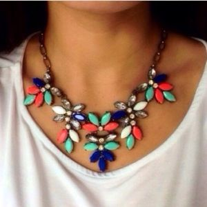 Coral Mint Crystal Statement Necklace