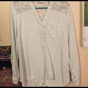 Anthropologie Chambray and Lace shirt