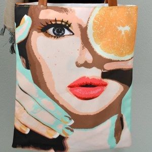 Handbags - :: SOLD :: NEW Fun graphic print day canvas tote