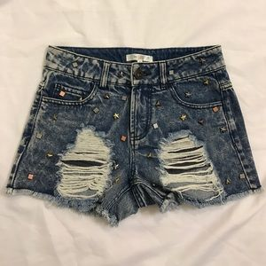 Blue Denim Studded Shorts