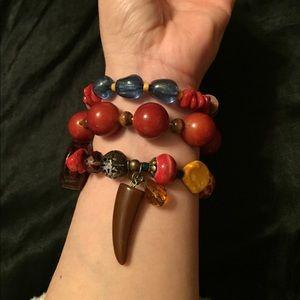 Cato Jewelry - Set of 3 bracelets-wood, beads, multi