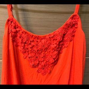 Express Tops - Express orange lace/ embellished tank top- size XS