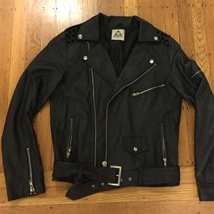 UNIF Leather jacket with tonal spikes